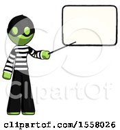 Green Thief Man Giving Presentation In Front Of Dry Erase Board