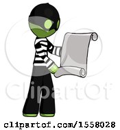 Green Thief Man Holding Blueprints Or Scroll