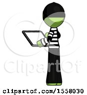 Green Thief Man Looking At Tablet Device Computer With Back To Viewer