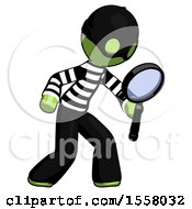Green Thief Man Inspecting With Large Magnifying Glass Right