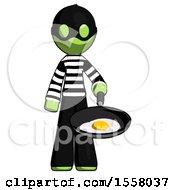 Poster, Art Print Of Green Thief Man Frying Egg In Pan Or Wok