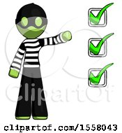 Green Thief Man Standing By List Of Checkmarks