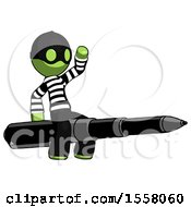 Green Thief Man Riding A Pen Like A Giant Rocket