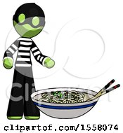 Green Thief Man And Noodle Bowl Giant Soup Restaraunt Concept