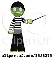 Green Thief Man Teacher Or Conductor With Stick Or Baton Directing