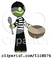 Green Thief Man With Empty Bowl And Spoon Ready To Make Something