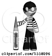 Gray Thief Man Standing With Large Thermometer