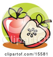 Halved Red Apple Resting In Front Of A Whole Apple Clipart Illustration