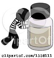 Gray Thief Man Pushing Large Medicine Bottle
