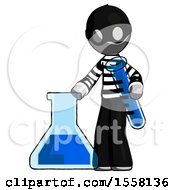 Gray Thief Man Holding Test Tube Beside Beaker Or Flask