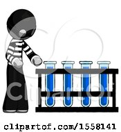Gray Thief Man Using Test Tubes Or Vials On Rack