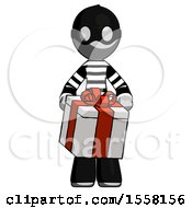 Gray Thief Man Gifting Present With Large Bow Front View