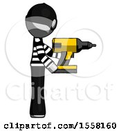 Gray Thief Man Using Drill Drilling Something On Right Side