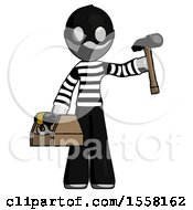 Gray Thief Man Holding Tools And Toolchest Ready To Work