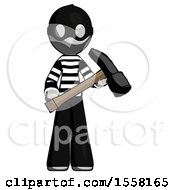 Gray Thief Man Holding Hammer Ready To Work