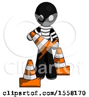 Gray Thief Man Holding A Traffic Cone