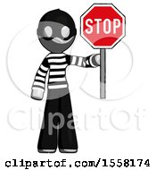 Gray Thief Man Holding Stop Sign