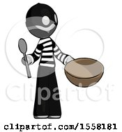 Gray Thief Man With Empty Bowl And Spoon Ready To Make Something