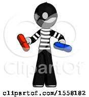 Gray Thief Man Red Pill Or Blue Pill Concept