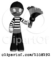Gray Thief Man Holding Feather Duster Facing Forward