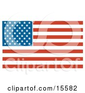 Poster, Art Print Of Patriotic American Flag With Stars And Stripes Clipart Illustration