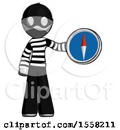 Gray Thief Man Holding A Large Compass