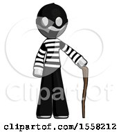 Gray Thief Man Standing With Hiking Stick