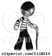 Gray Thief Man Walking With Hiking Stick