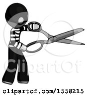 Gray Thief Man Holding Giant Scissors Cutting Out Something