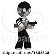Gray Thief Man Tommy Gun Gangster Shooting Pose