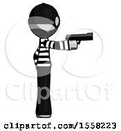 Gray Thief Man Firing A Handgun