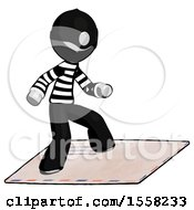 Gray Thief Man On Postage Envelope Surfing