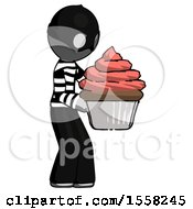 Gray Thief Man Holding Large Cupcake Ready To Eat Or Serve