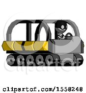 Gray Thief Man Driving Amphibious Tracked Vehicle Side Angle View