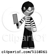 Gray Thief Man Holding Meat Cleaver