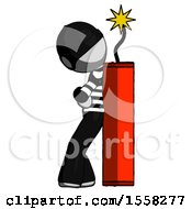 Gray Thief Man Leaning Against Dynimate Large Stick Ready To Blow
