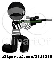Gray Thief Man Kneeling Shooting Sniper Rifle