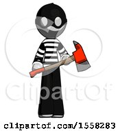 Gray Thief Man Holding Red Fire Fighters Ax