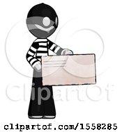 Gray Thief Man Presenting Large Envelope