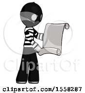 Gray Thief Man Holding Blueprints Or Scroll
