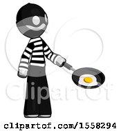 Poster, Art Print Of Gray Thief Man Frying Egg In Pan Or Wok Facing Right
