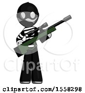Gray Thief Man Holding Sniper Rifle Gun