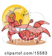 Funny Crab Belching While Drinking An Alcoholic Beverage In A Coconut Shell On A Beach Clipart Illustration