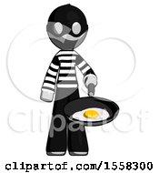 Poster, Art Print Of Gray Thief Man Frying Egg In Pan Or Wok
