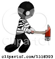 Gray Thief Man With Ax Hitting Striking Or Chopping