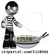 Gray Thief Man And Noodle Bowl Giant Soup Restaraunt Concept