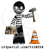 Gray Thief Man Under Construction Concept Traffic Cone And Tools