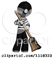 Gray Thief Man Sweeping Area With Broom