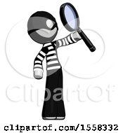 Gray Thief Man Inspecting With Large Magnifying Glass Facing Up