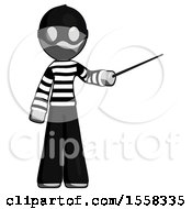 Gray Thief Man Teacher Or Conductor With Stick Or Baton Directing